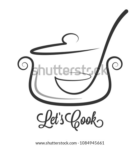 Pan with ladle ornate. Kitchen spoon in a Saucepan pot on white background