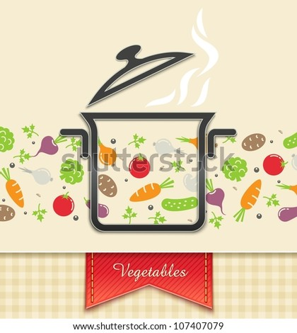 pan with vegetable food background vector illustration EPS10 Transparent objects and opacity masks used for shadows and lights drawing