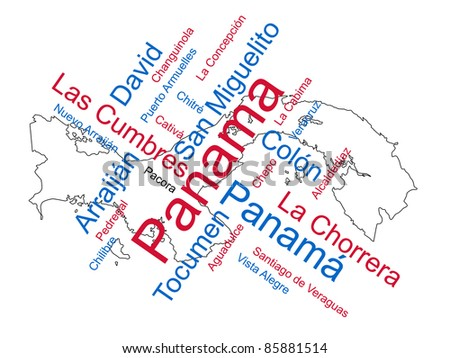 Panama map and words cloud with larger cities - stock vector