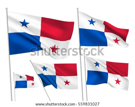 Panama vector flags set. 5 wavy 3D cloth pennants fluttering on the wind. EPS 8 created using gradient meshes isolated on white background. Five fabric flagstaff design elements from world collection #559831027
