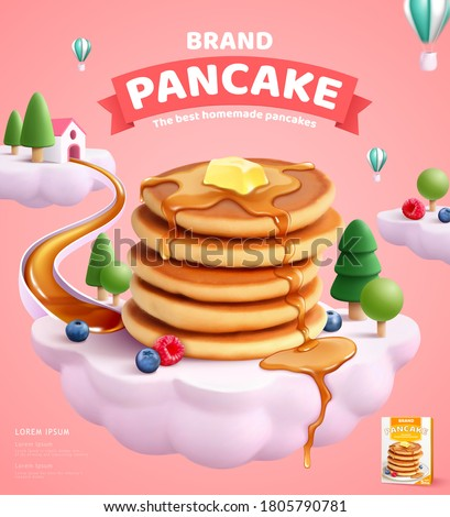 Pancake mix ads with butter and honey dripping on delicious pancakes and fruits over a cloud island in 3d illustration