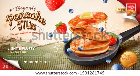 Pancake mix ads with delicious snacks in frying pan on woodcut style field background in 3d illustration