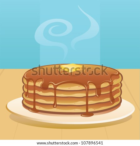 pancakes with butter and syrup