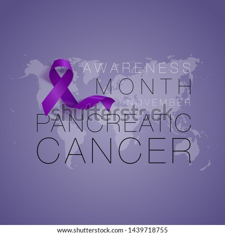 Pancreatic Cancer Awareness Calligraphy Poster Design. Realistic Purple Ribbon. November is Cancer Awareness Month. Vector