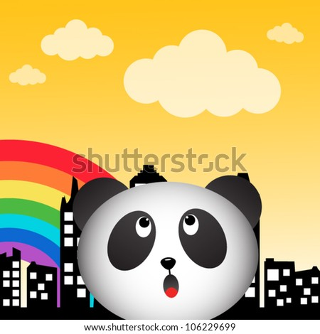 Panda and rainbow in the city