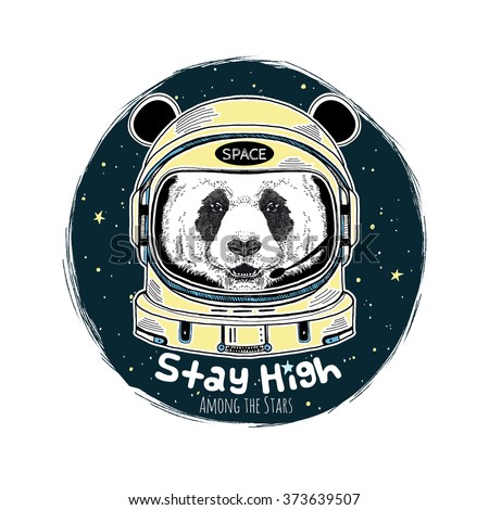 panda astronaut  hand drawn art