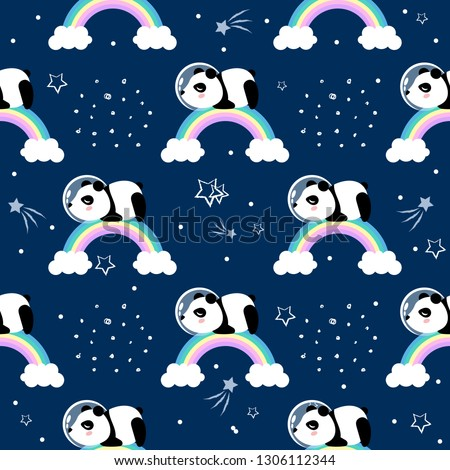 Panda astronaut  in outer space seamless pattern. Cute cartoon vector illustration.