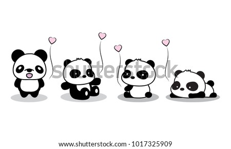 Panda baby. valentine's day