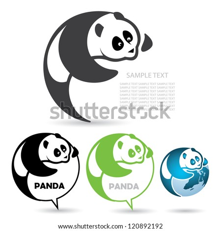 Panda badge - vector illustration