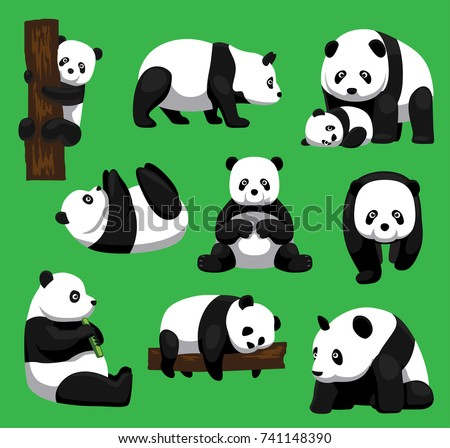 panda bear nine poses cartoon