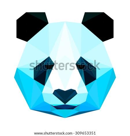 Panda bear portrait. Abstract polygonal panda bear head painted in imaginary colors. Geometric triangle panda bear isolated on white. nature, animal, wildlife theme. Panda bear for card, book, placard