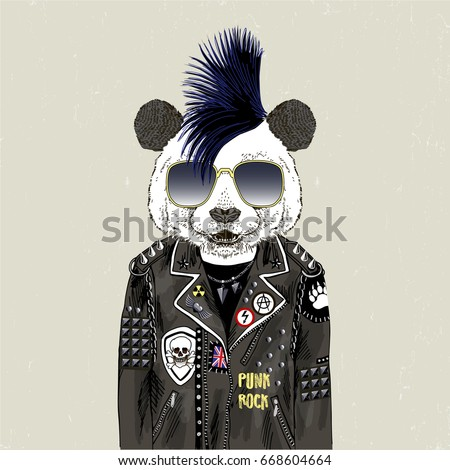 panda bear punk  furry art