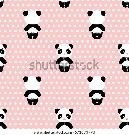 Panda bear seamless vector pattern  with bamboo. Cute pandas on pink in trousers with back of panda on pink background with blue dots