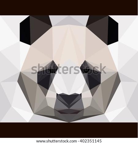 Panda bear triangle portrait card template. Panda bear stares forward. Nature, animals, wildlife theme. Abstract geometric polygonal panda bear. Panda for card, book, invitation, poster, banner.