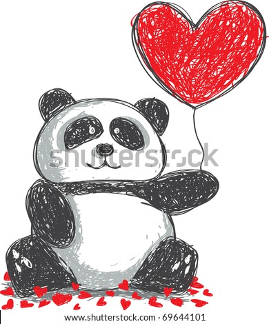 panda doodle with love balloon