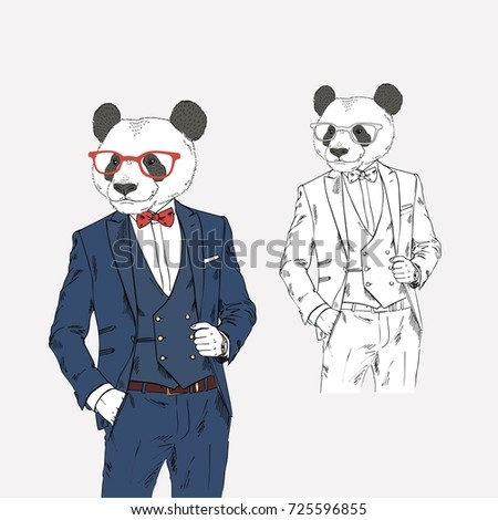 panda dressed up in classy