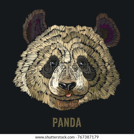 Panda embroidery. Fashion template for clothes, textiles, t-shirt design. Classical embroidery portrait of funny panda bear