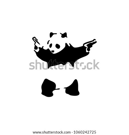 panda gun vector logo