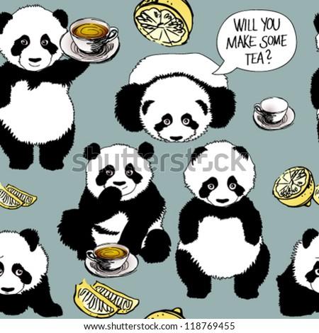 Panda has a cold / Seamless funny pattern