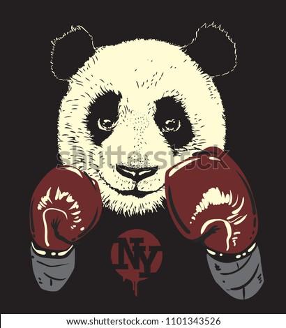 Panda in boxing gloves, hand drawn bear.