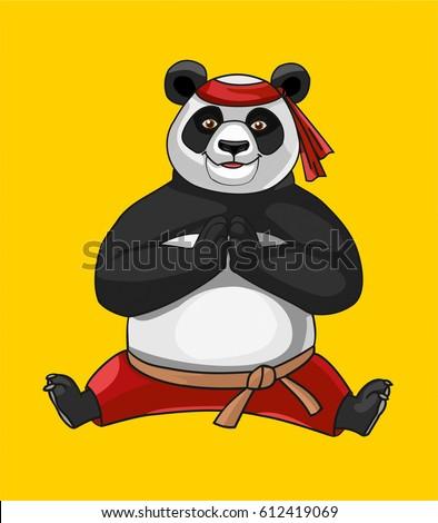 panda isolated on yellow
