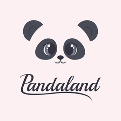 Panda logo. Isolated head on light background. Asian bear mascot idea for emblem, symbol, icon.