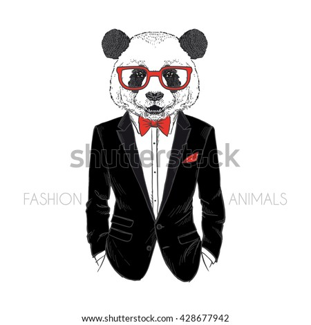 panda man dressed up in tuxedo