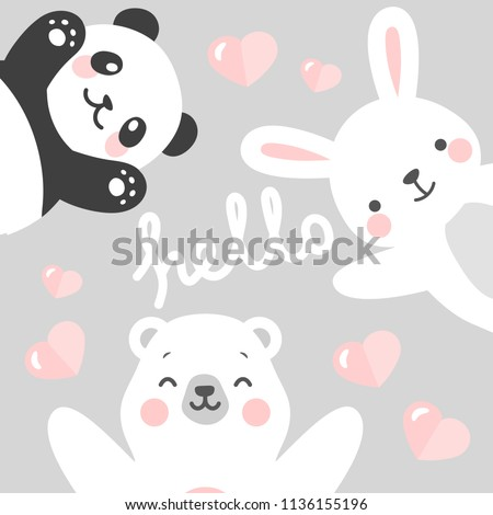 Panda Rabbit and Teddy Bear vector print, love write with flying heart cartoon illustration, baby shower card, greeting or valentine card, kids cards for birthday poster or banner