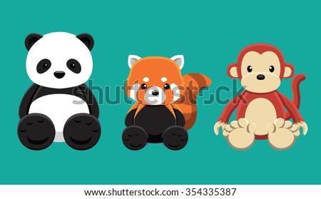 panda red panda monkey doll set