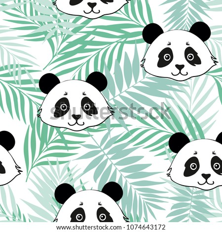 Panda seamless pattern on a background of tropical leaves. Popular background with panda. Fashion seamless vector pattern with panda. Panda pattern. Tropical animal and leaf.