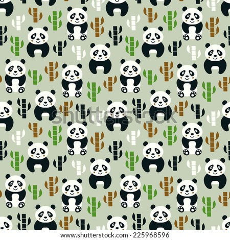 panda seamless pattern vector