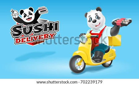 Panda sushi delivery on scooter. Vector clip art illustration.