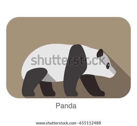 panda walking side flat 3d icon