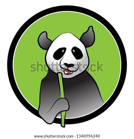 Panda with Bamboo Vector Art