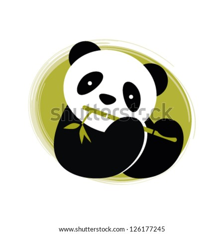 Panda with bamboo. Vector illustration.