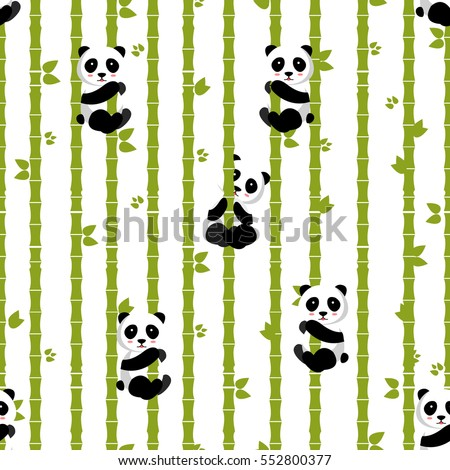Panda with bamboo. Vector illustration, eps 10. Seamless pattern, easy to edit and print. Panda baby. Bamboo leaves with pandas.