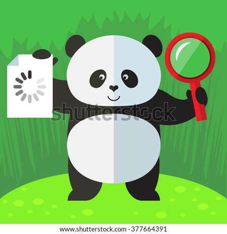panda with magnifier glass and