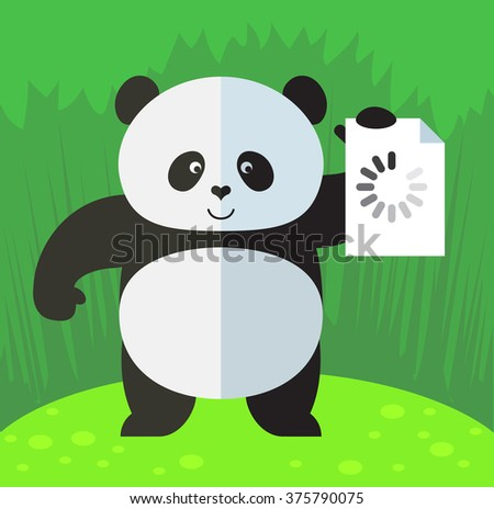 panda with preloader icon flat