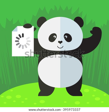 panda with preloader icon flat