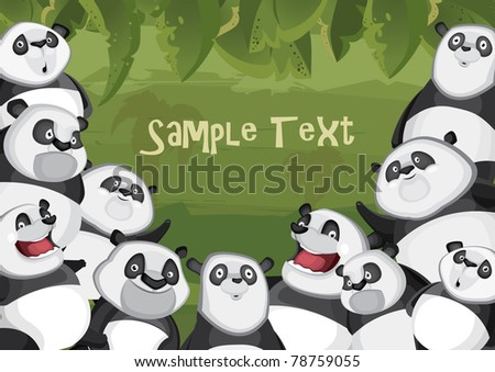 Pandas in jungle background