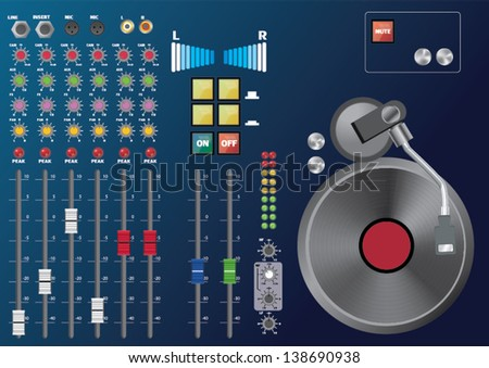 panel of sound mixer console