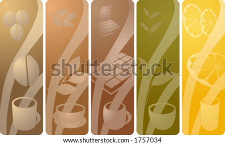 Panels depicting various beverages: coffee, tea, chocolate, green tea, juice. Vector illustration