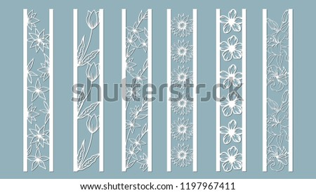 panels with floral pattern. Flowers and leaves. Laser cut. Set of bookmarks templates. Image for laser cutting, plotter cutting or printing. Tulip, Daisy. plotter and screen printing. serigraphy.