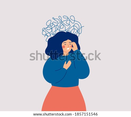 Panic attack concept. Uneasy woman has chest pain and vertigo. A depressed female with nervous problems has shortness of breath and feels anxious. Vector illustration Foto d'archivio ©