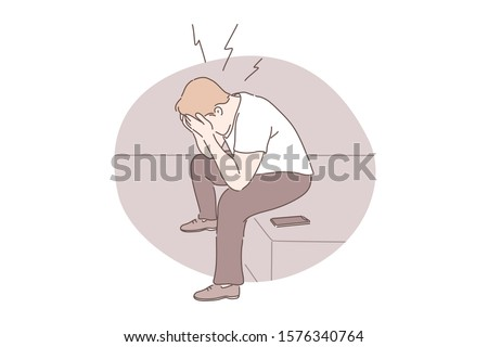 Panic attack, emotional stress, depression concept. Guy sitting and holding head, desperate person receiving bad news, mental health problem, young man suffering from headache. Simple flat vector