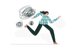 Panic attack, fear, anxiety, scared lady. Girl runs away from her phobias. Mental health, wellbeing or disorder. Woman with symptoms of a nervous breakdown simple flat vector abstract illustration
