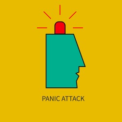 Panic attack. Man with siren in his head. Vector illustration.