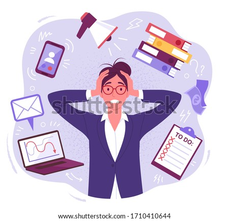 Panic businesswoman. Vector illustration of pretty cartoon brunette woman in stress, surrounded by work and stress factors icons. Isolated on background