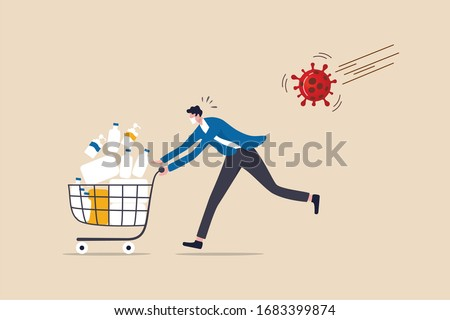 Panic buy in COVID-19 Coronavirus outbreak crisis, people hoarding on curfew and lockdown concept, panic man running in fear with full of goods, medicine, tissues in shopping cart with virus pathogen. Foto stock ©