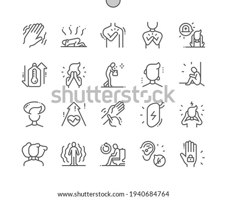 Panic disorder. Tremor and heartache. Pressure increase. Illness, unhappy and despair. Health care, medical and medicine. Pixel Perfect Vector Thin Line Icons. Simple Minimal Pictogram Stock photo ©